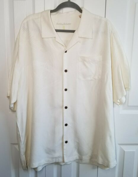 TOMMY BAHAMA Ivory Short Sleeve Shirt Hawaiian Leaves 100% Silk Size XL $16.99