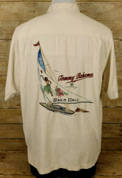 Tommy Bahama Embroidered Shirt Mens Large Short Sleeve Silk Sails Call $19.99