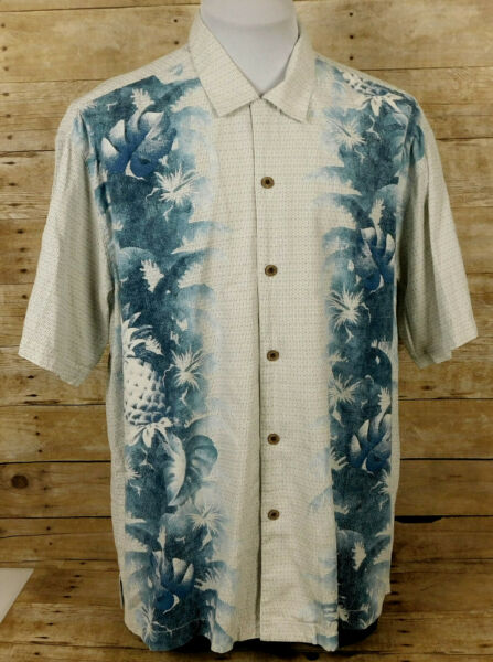 Tommy Bahama Hawaiian Shirt Mens XL Short Sleeve Silk Blend Floral $13.99