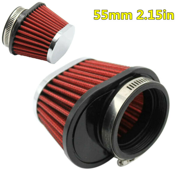 2Pcs 55mm Performance High Flow Motorcycle Air Filter Round Tapered Accessories $20.60