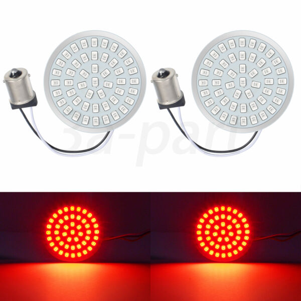 """2"""" 1156 LED Turn Signal Brake Light Inserts Red Fit for Harley Softail Breakout"""