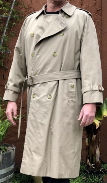 Vintage BURBERRY Trench Coat Mens US Size 42 Long Wool Lined Rain Jacket $145.00
