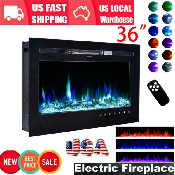 Embedded 36quot; Electric Fireplace Insert Heater Log Flame w Remote Control USA