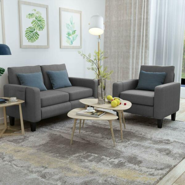 2 PCS Sofa Set Fabric Couch Upholstered Single Sofa Chair amp; Loveseat Grey $429.98