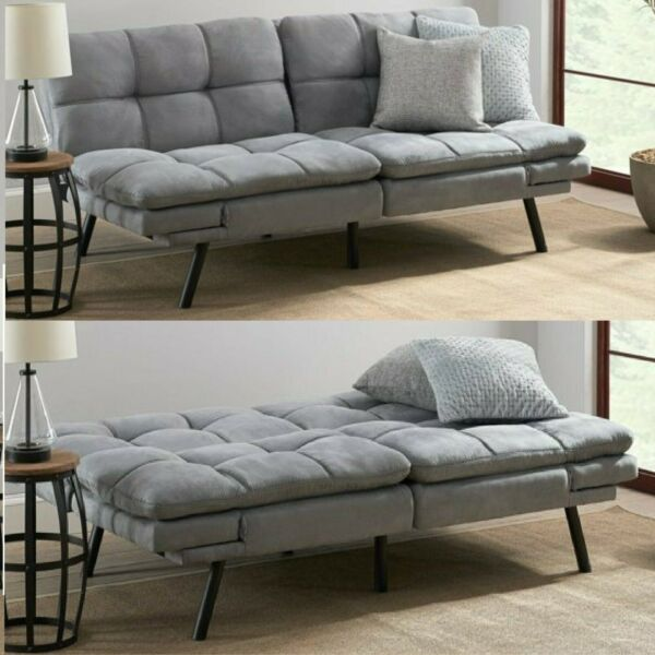 Memory Foam Futon Sofa Bed Couch Sleeper Convertible Foldable Loveseat FULL Gray