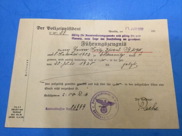 HOLOCAUST 1939 Exit Permit Issued By Vienna Police For 3 Months.