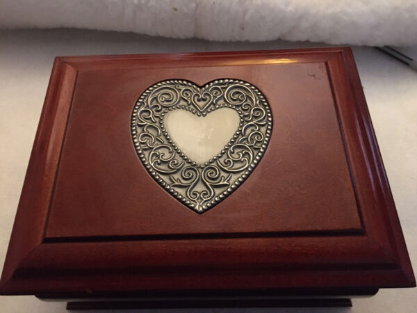 Large Wood Jewelry Box With Metal Heart