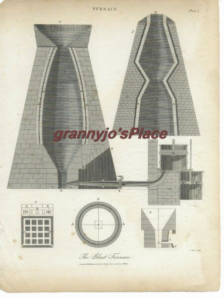 1806 Copperplate Engraving of The Blast Furnace by J. Pass $25.00