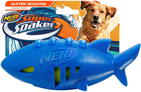 Nerf Dog Shark Football Dog Toy with Interactive Squeak and Crunch Lightweight $15.99