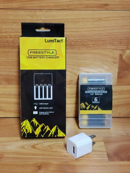 LumiTact Freestyle 6 pack of AAA Rechargeable Batteries USB Charger Wall Plug $6.00