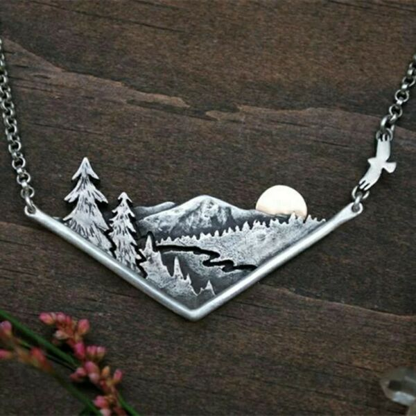 Boho Mountain Pine Tree Necklace