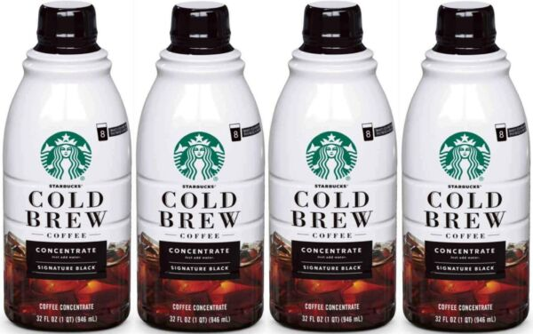 Starbucks Coffee Cold Brew Concentrate 4 Bottles of 32 fl oz 128 oz Total READ