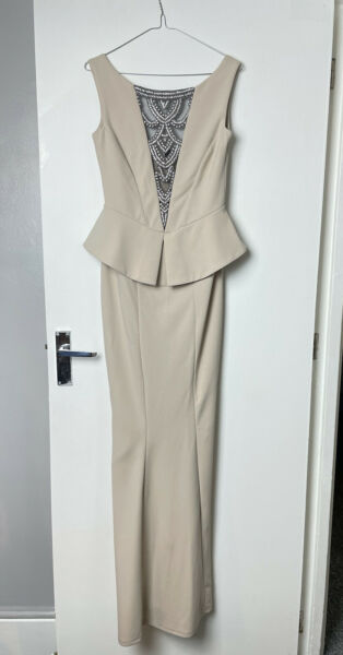 Quiz Long Peplum Beige Stone Dress with Diamonte detail UK 10 BNWT