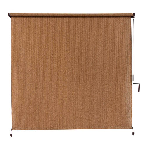 Roller Shade Blind Coolaroo Walnut Cordless Exterior Roller 120 in. W x 96 in. L $130.15