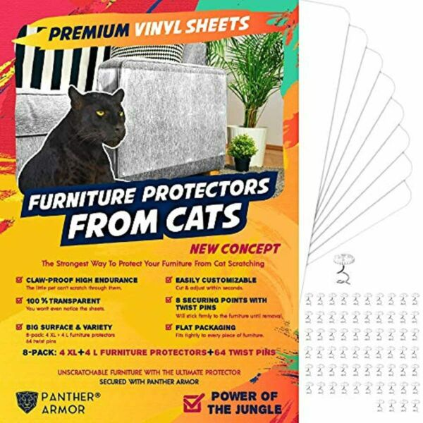Panther Armor Furniture Protectors from Cat Scratch 8 Eight Pack – Couch Gu $41.52