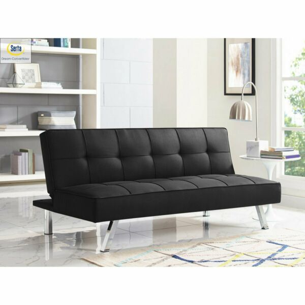 Memory Foam Futon Sofa Bed Couch Sleeper Convertible Loveseat Modern Black