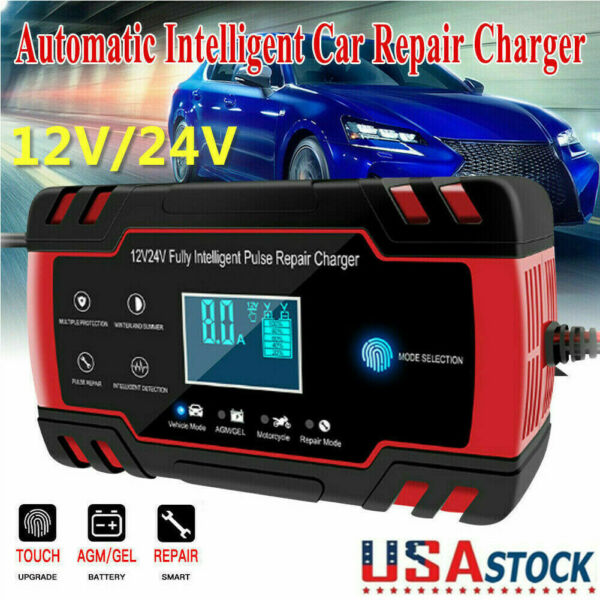 Intelligent Automatic Car Battery Charger 12 24V 8A Pulse Repair Starter AGM GEL $26.99