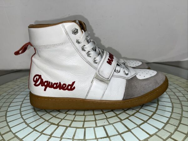 DSquared Shoes Men#x27;s Wht red gray brn leather Lace Up Trainers VTG Sz 44 $100.00