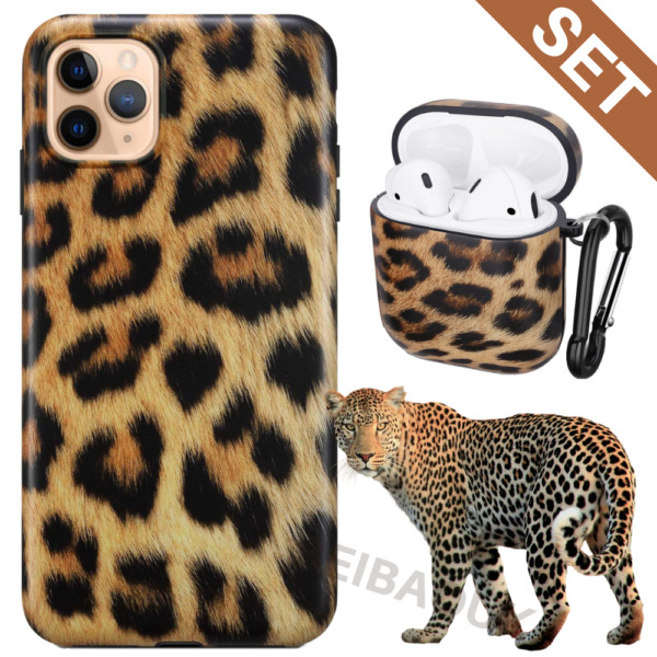 Leopard Print Shockproof iPhone 11 Pro Xs Max XR 8 Case MatteAirpods 1 2 Cover
