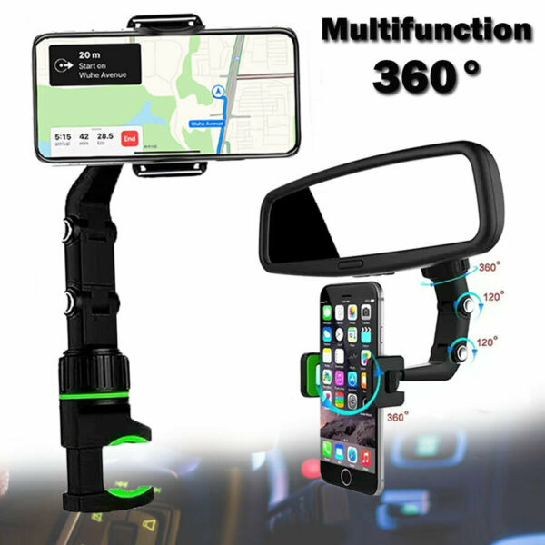 Universal Car Rear view Mirror Mount Holder For IPhone Samsung Phone GPS 360° $7.59