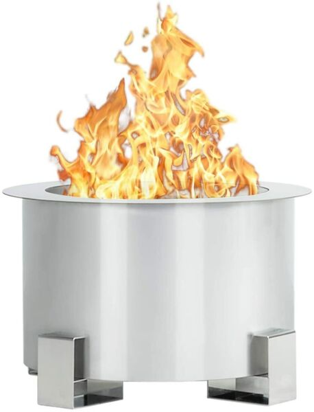 Esright Smokeless Fire Pit 21.5 Inch Stainless Steel Outdoor Firepit Silver