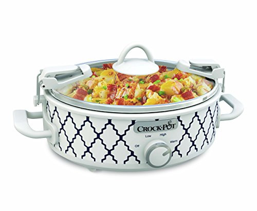 Crockpot 2.5 Quart Mini Casserole Crock Slow Cooker White Blue