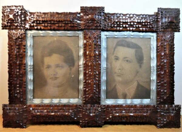 Beautifully carved TRAMP ART folk art Double Opening picture frame ALL ORIGINAL