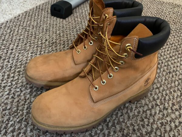 Timberland Boots 13 Work Tan Premium Waterproof 6quot; 10061 Leather Lace Up Wheat $60.00