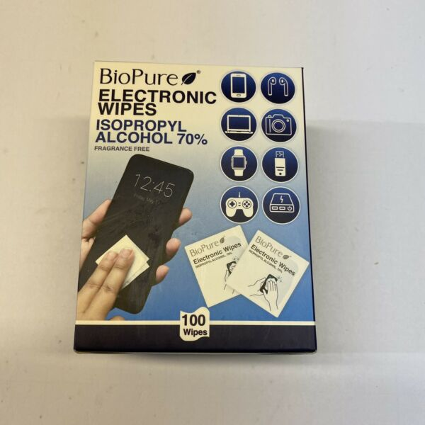 BioPure Electronic Wipes 100 Count Isopropyl Alcohol 70% Frangrance Free New $7.99
