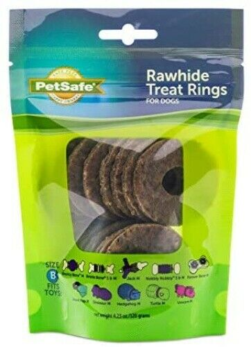 PetSafe Natural Rawhide Rings Dog Toy Treat Ring Refills for Busy Buddy Dog To $6.24