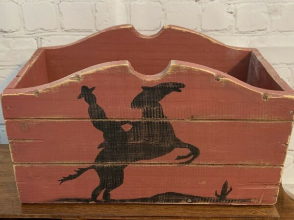 Cowboy Horse Country Kitchen Decorative Wood Crate Storage Box Home Accent Decor