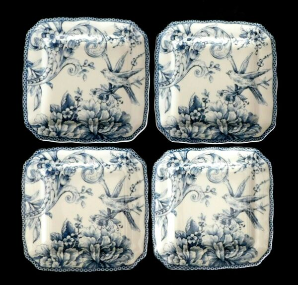 222 Fifth Adelaide Blue amp; White Small Plates 6 1 4quot; Square Set of 4 $43.50