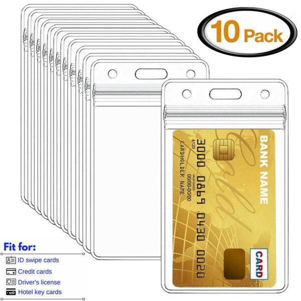 10PCS Vertical Clear soft Plastic ID Card Badge Holder Waterproof Business Case $6.79