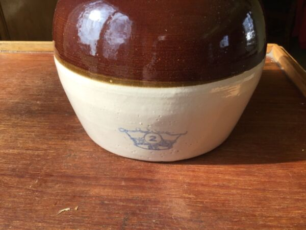 Crock Bean Pot Vintage One Handled Stoneware Blue Crown 2 QT Brown Tan $10 Ship