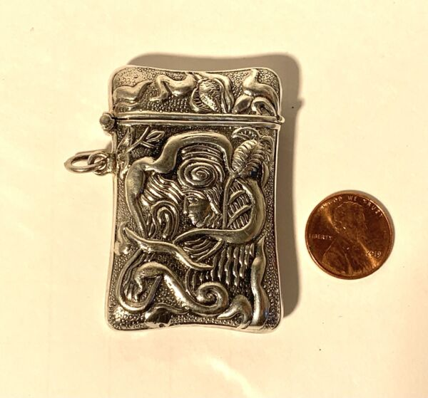 Small Antique Sterling Match Safe Vesta Case With Faces c1900