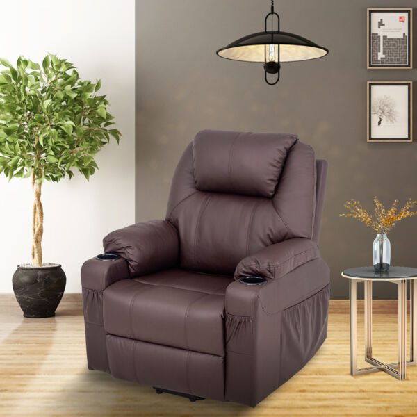 Massage Recliner Sofa Single Chair For Elderly Port Faux Leather Brown Footrest