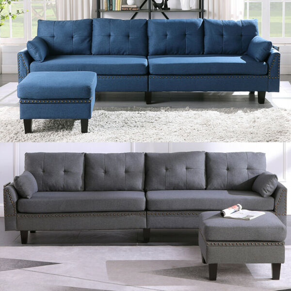 Reversible Sectional Sofa for Living Room Muti functional L Shape 4 Seat Couch