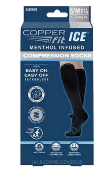 Copper Fit Ice Compression Socks S M Menthol Infused Unisex Black