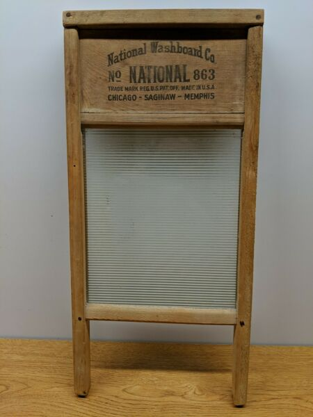 VINTAGE ANTIQUE WOOD AND GLASS WASHBOARD