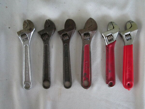 Lot of 6 Vintage 4quot;Adjustable Wrenches CrescentJ.H.Willams SuperJustable.Germay