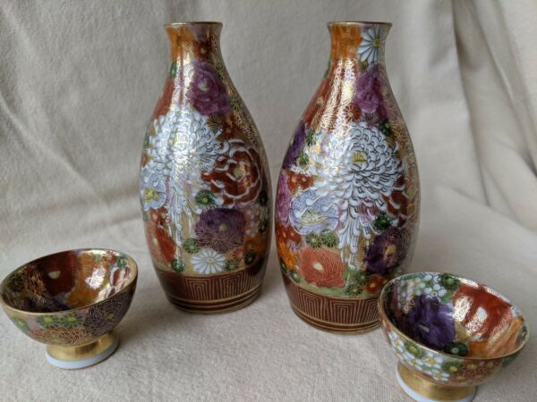 Antique Kutani Japanese Satsuma Hand Painted Millefleurs Sake Set Bottle Cup