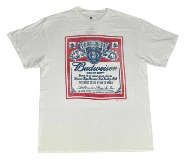 Men#x27;s Budweiser King Of Beers Distressed Label Retro White T Shirt $14.99
