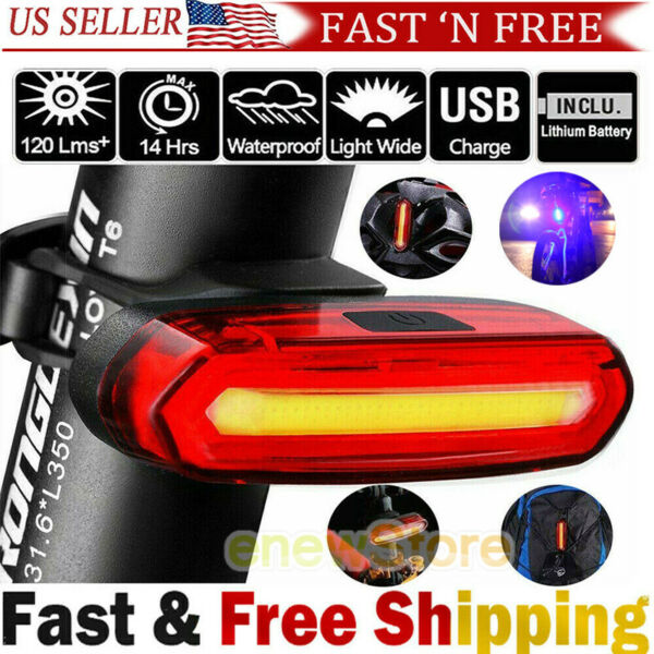Red White Blue Strobe Back Rear Bike Light USB Rechargeable COB LED Lights $12.66