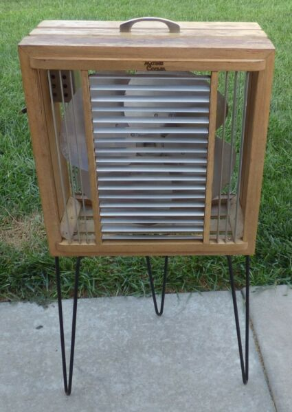 Vintage Mathes Cooler Model 544 Wood Box Fan with Metal Legs $197.50