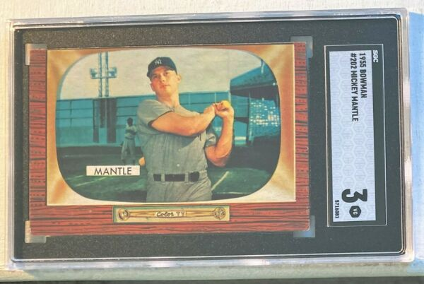 1955 BOWMAN MICKEY MANTLE #202 SGC 3 HALL OF FAME