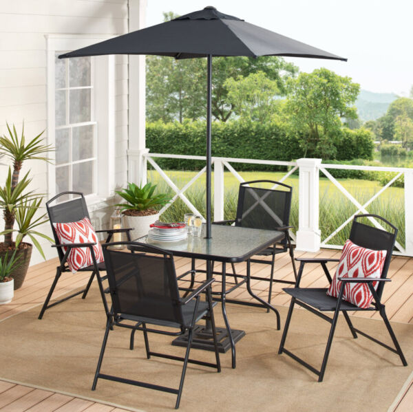 DINING SET PATIO OUTDOOR SET 6 Piece Umbrella 4 Chairs Table Black