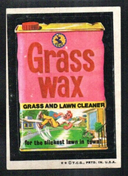 GRASS WAX LAWN CLEANER 1973 TOPPS WACKY PACKAGES series 4 STICKER NO CREASE VGEX $2.75