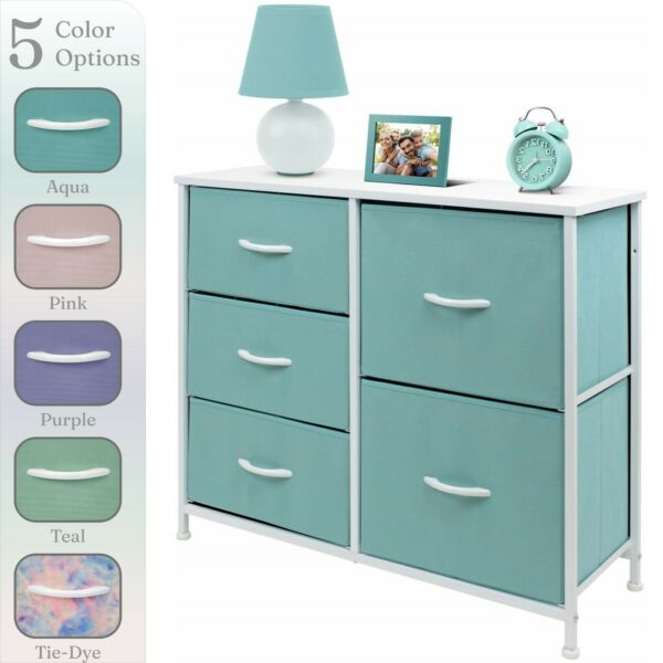 Nightstand Chest 5 Drawers Bedside Dresser Furniture for Bedroom Office Organize $59.99