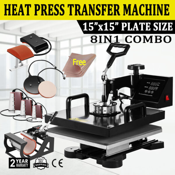 8IN1 Combo Heat Press Machine 15quot;x15quot; Sublimation Transfer T Shirt Mug Plate Hat $225.00