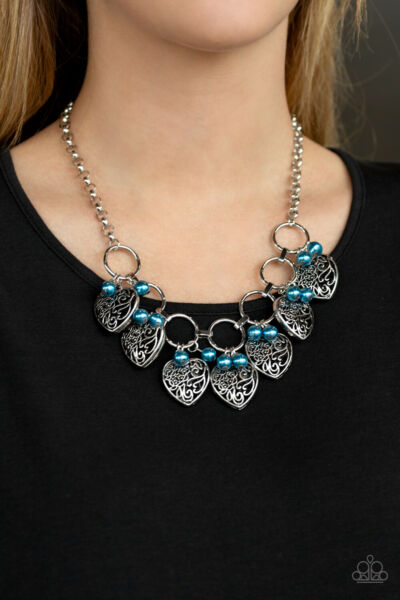 Paparazzi jewelry Very Valentine Blue Pearl Silver Heart Chain Necklace New